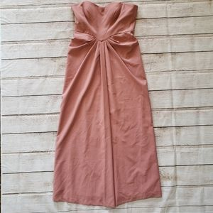 Kay Unger Strapless Pink Blush Pintuck Gown 14